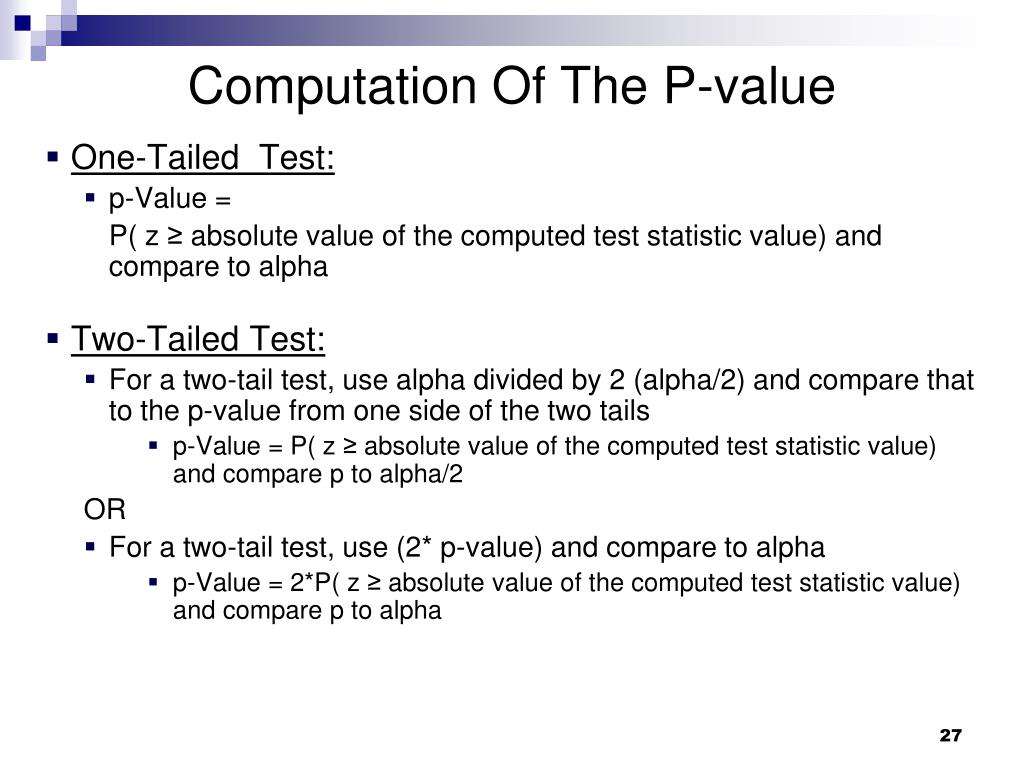 Computation Of The P-value
