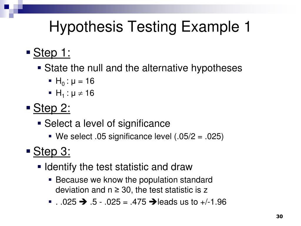 Hypothesis Testing Example 1