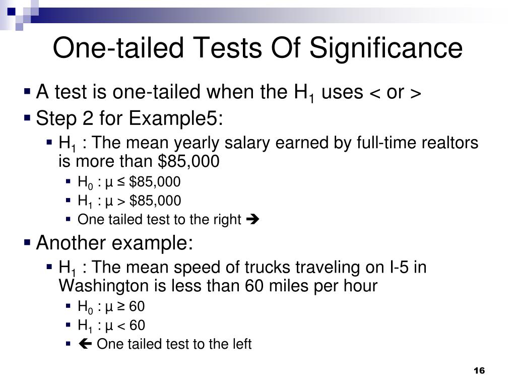 One-tailed Tests Of Significance