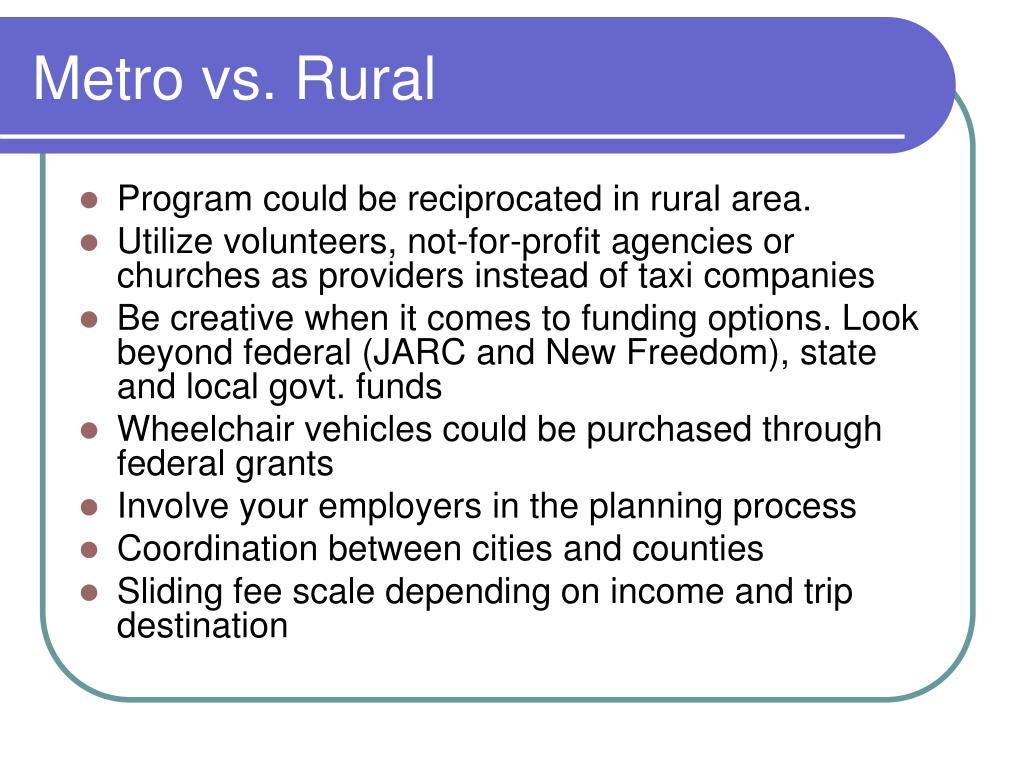 Metro vs. Rural