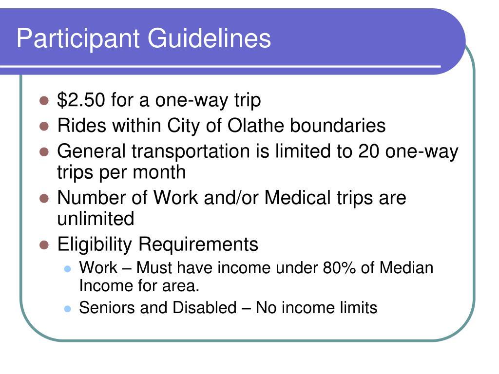 Participant Guidelines