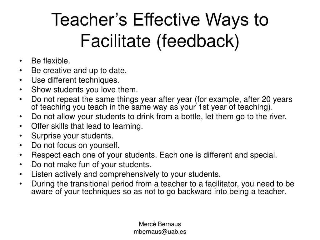Teacher's Effective Ways to Facilitat
