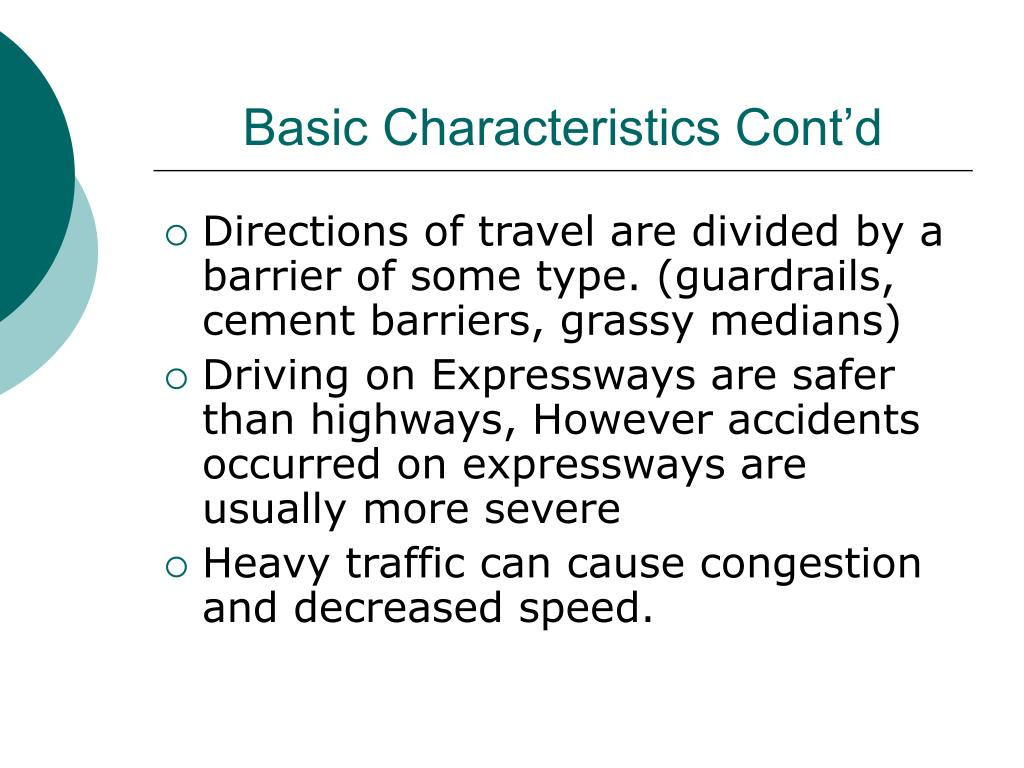Characteristics Of An Expressway PowerPoint