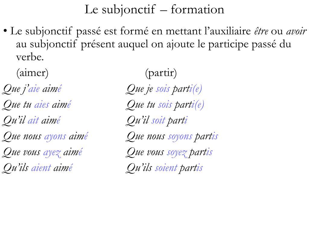 Le subjonctif – formation