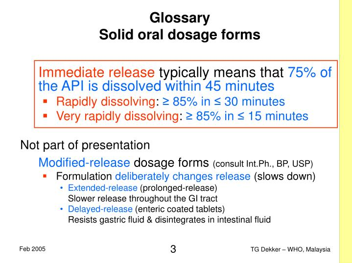 Glossary solid oral dosage forms