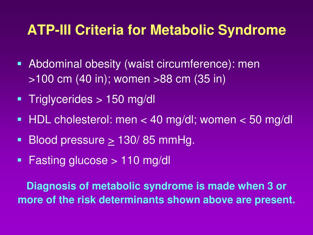 ATP-III Criteria for Metabolic Syndrome