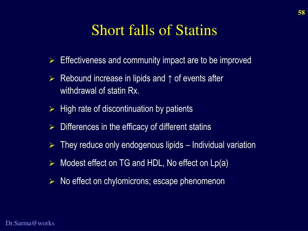Short falls of Statins