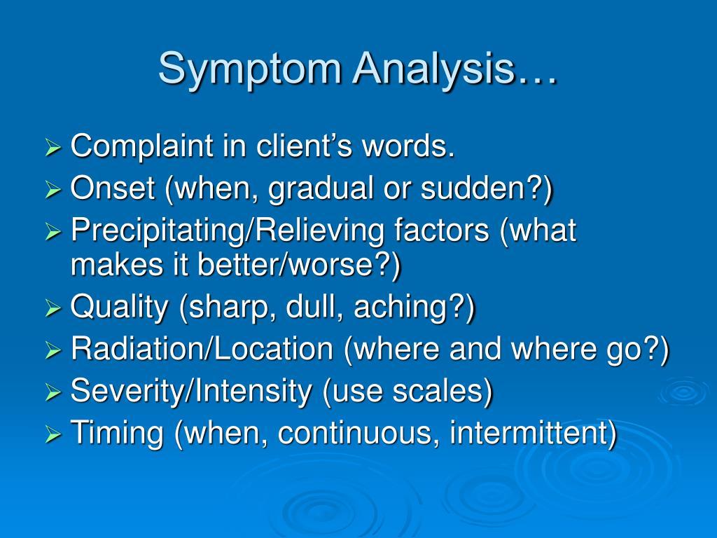 Symptom Analysis…