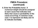 fmea procedure continued14