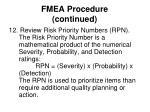 fmea procedure continued17