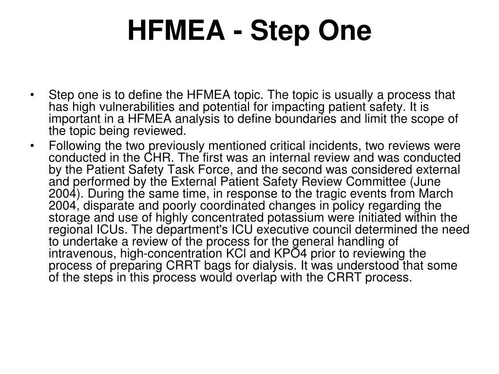 HFMEA - Step One