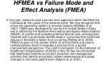 hfmea vs failure mode and effect analysis fmea
