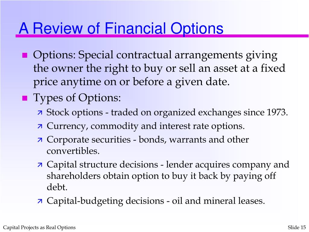 A Review of Financial Options