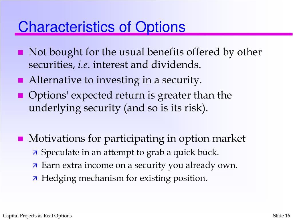 Characteristics of Options