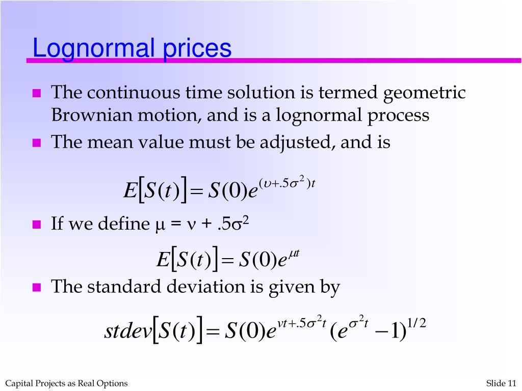 Lognormal prices