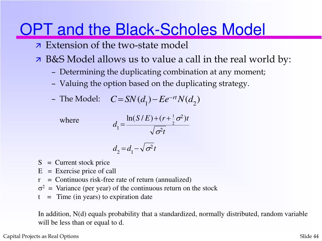 OPT and the Black-Scholes Model
