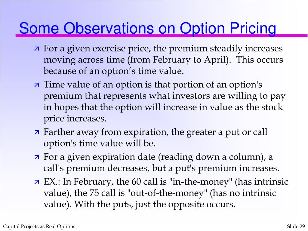 Some Observations on Option Pricing