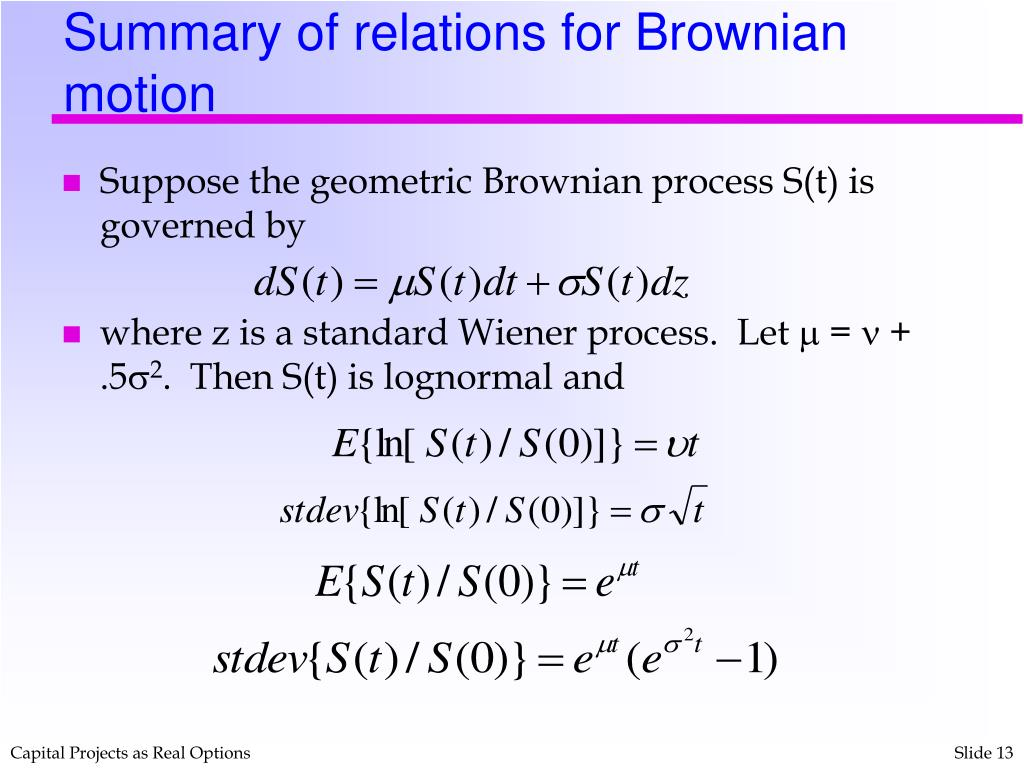 Summary of relations for Brownian motion