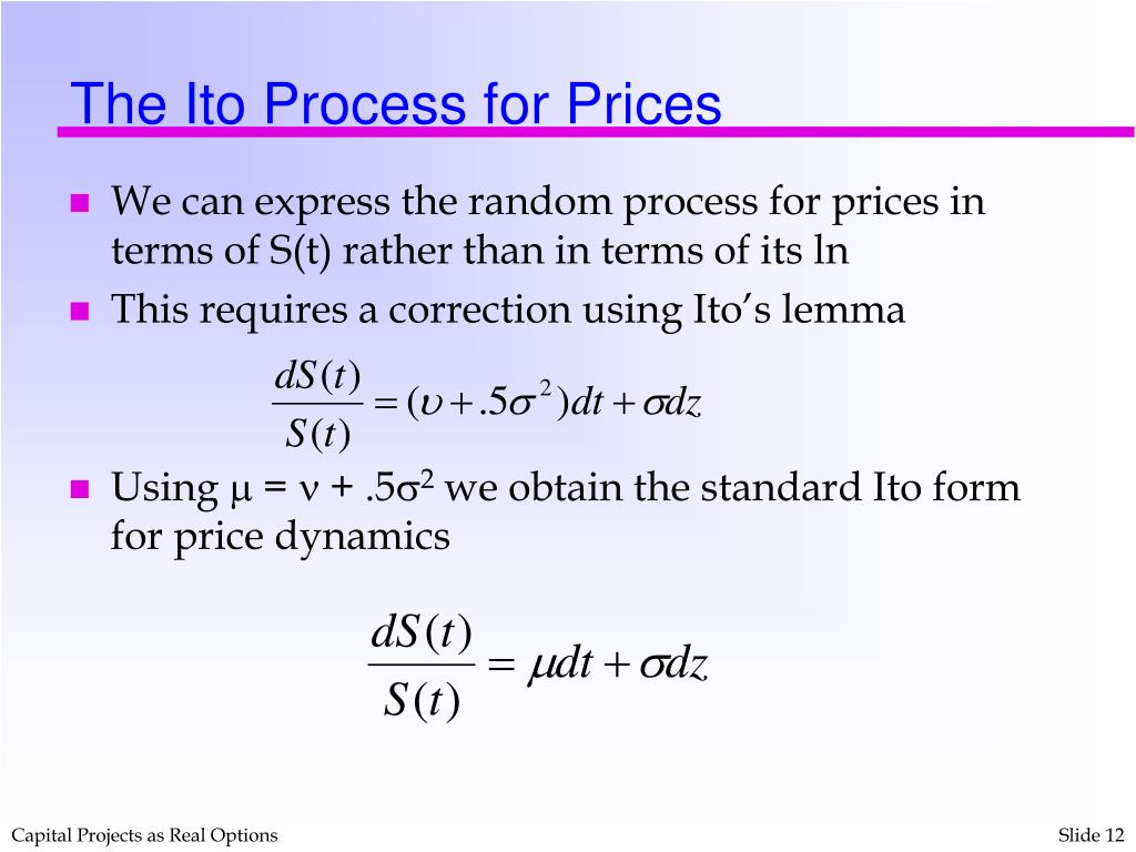 The Ito Process for Prices