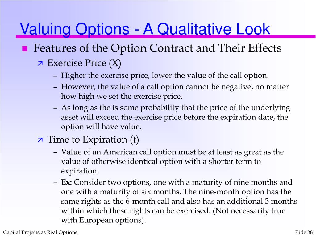Valuing Options - A Qualitative Look