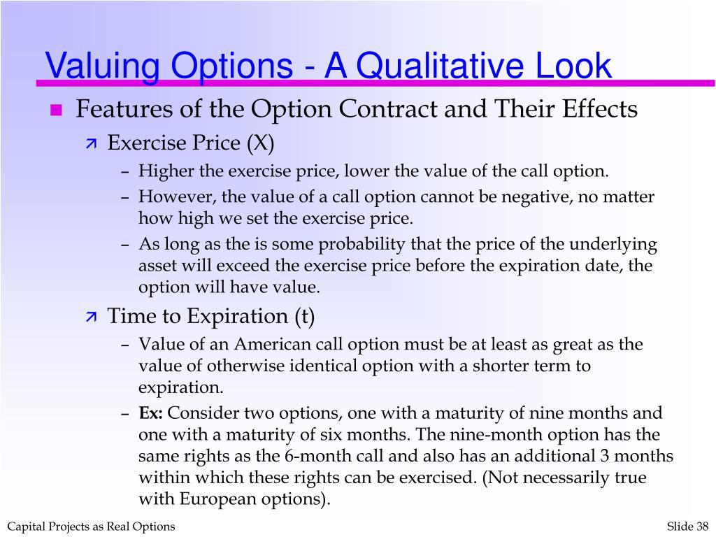 Valuing Options - A Qualitative Look