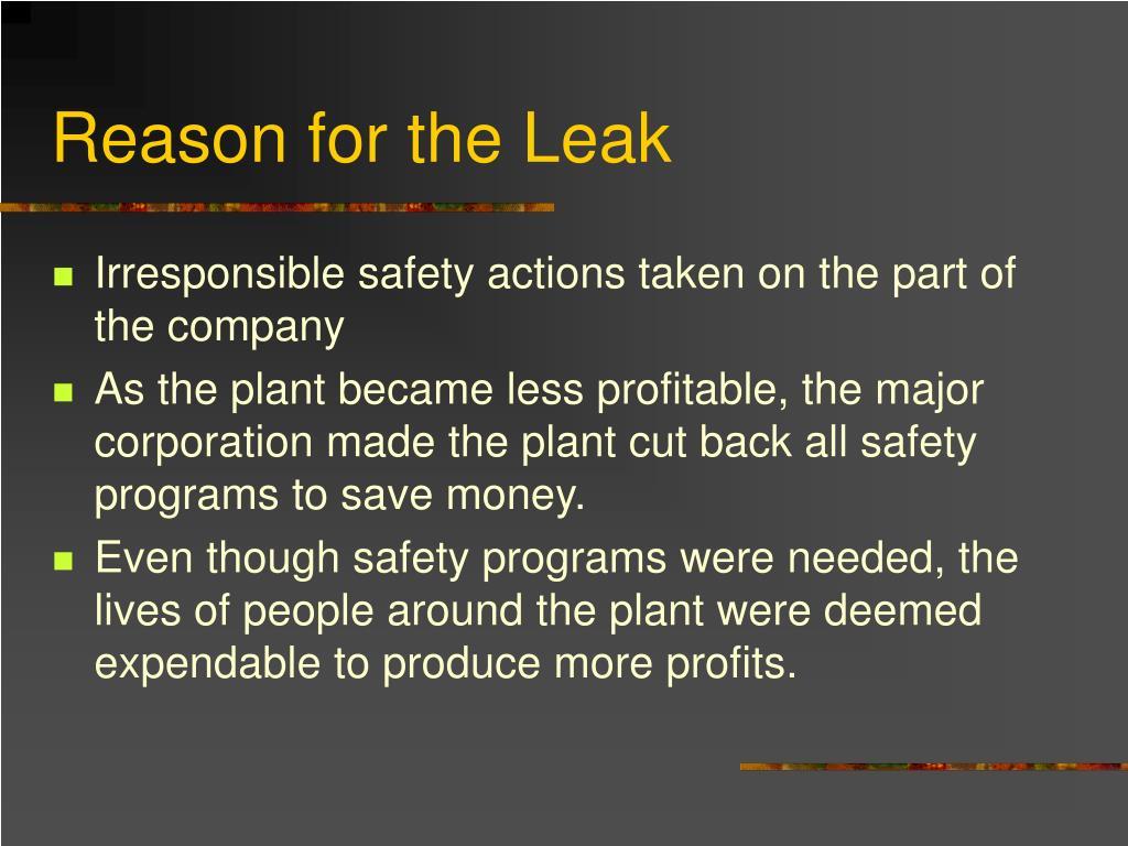 Reason for the Leak