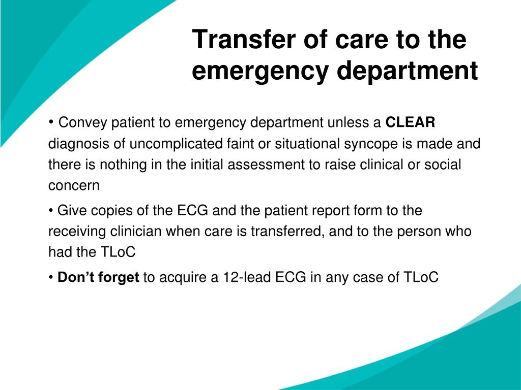 Transfer of care to the emergency department