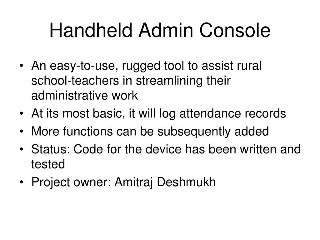 Handheld Admin Console