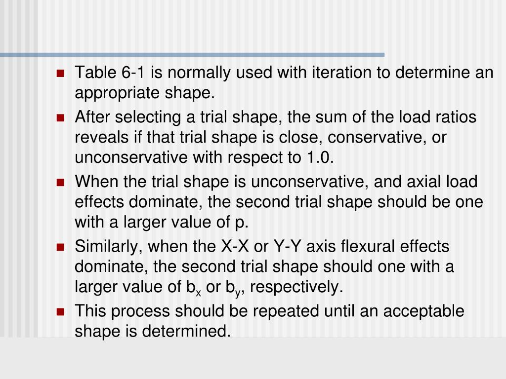 Table 6-1 is normally used with iteration to determine an appropriate shape.