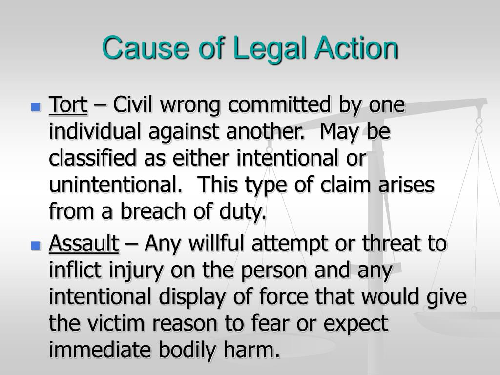 Cause of Legal Action