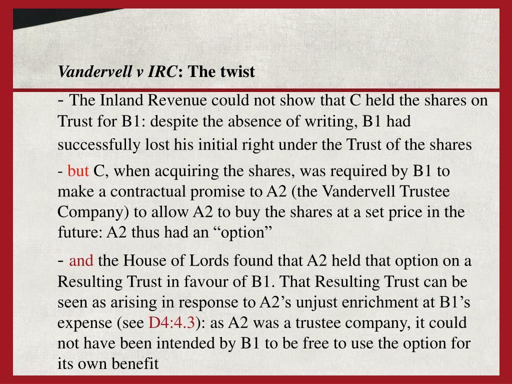 Vandervell v IRC