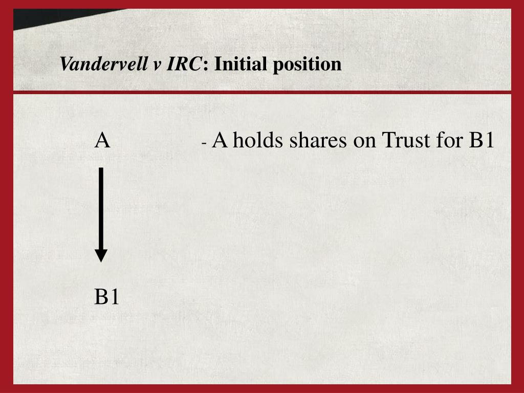 vandervell v irc What is the difference between grey v irc [1960], and vandervell v irc [1967] definition in grey, grey attempted to transfer only an equitable interest, therefore he had to comply with s53(1)(c.