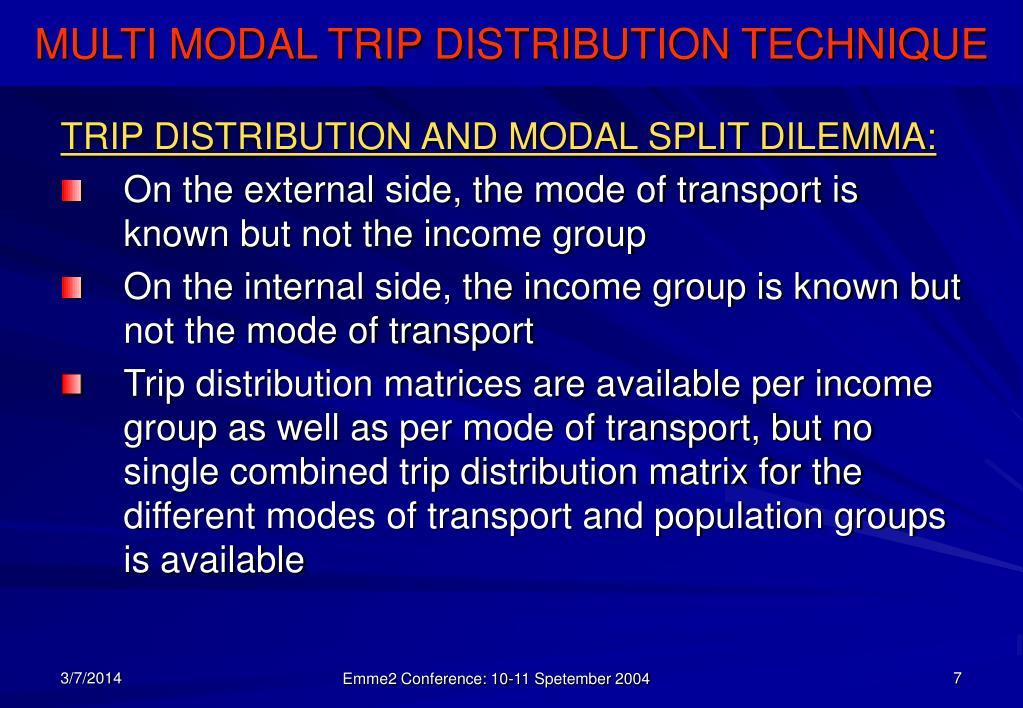 TRIP DISTRIBUTION AND MODAL SPLIT DILEMMA: