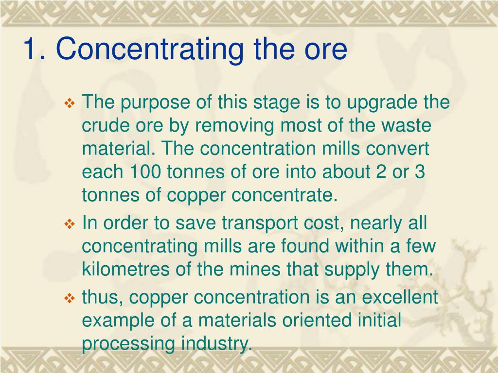 1. Concentrating the ore