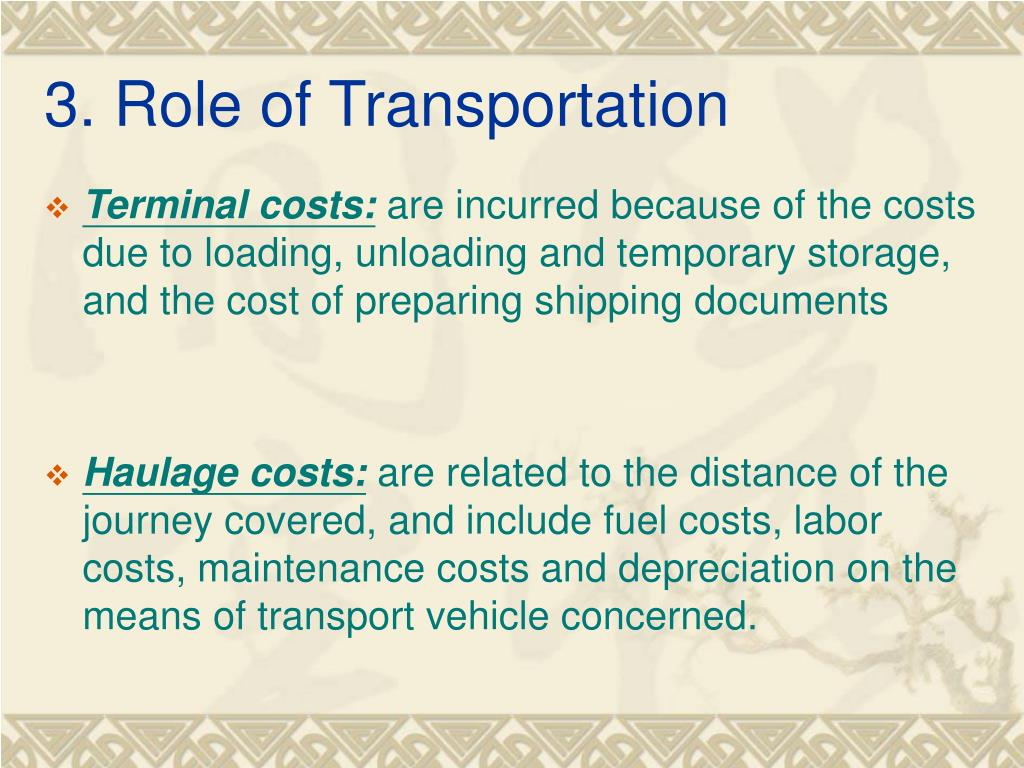 3. Role of Transportation