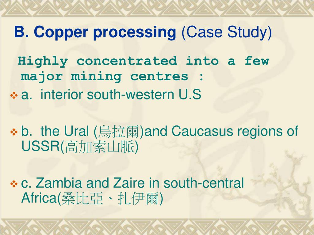 B. Copper processing