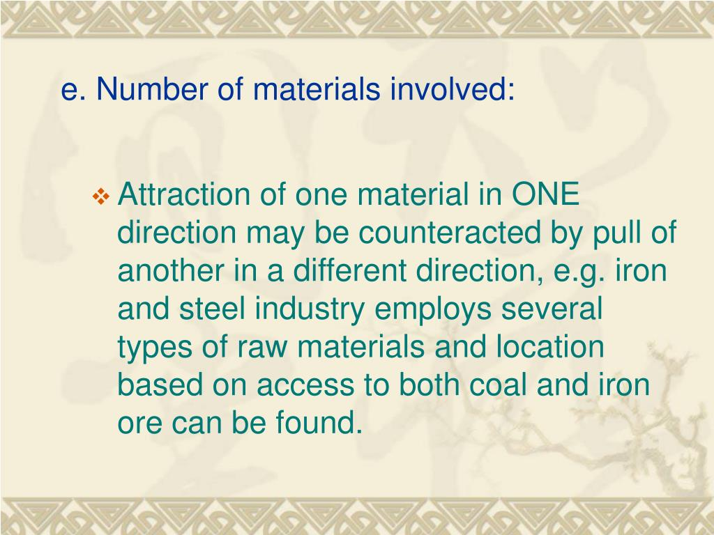 e. Number of materials involved: