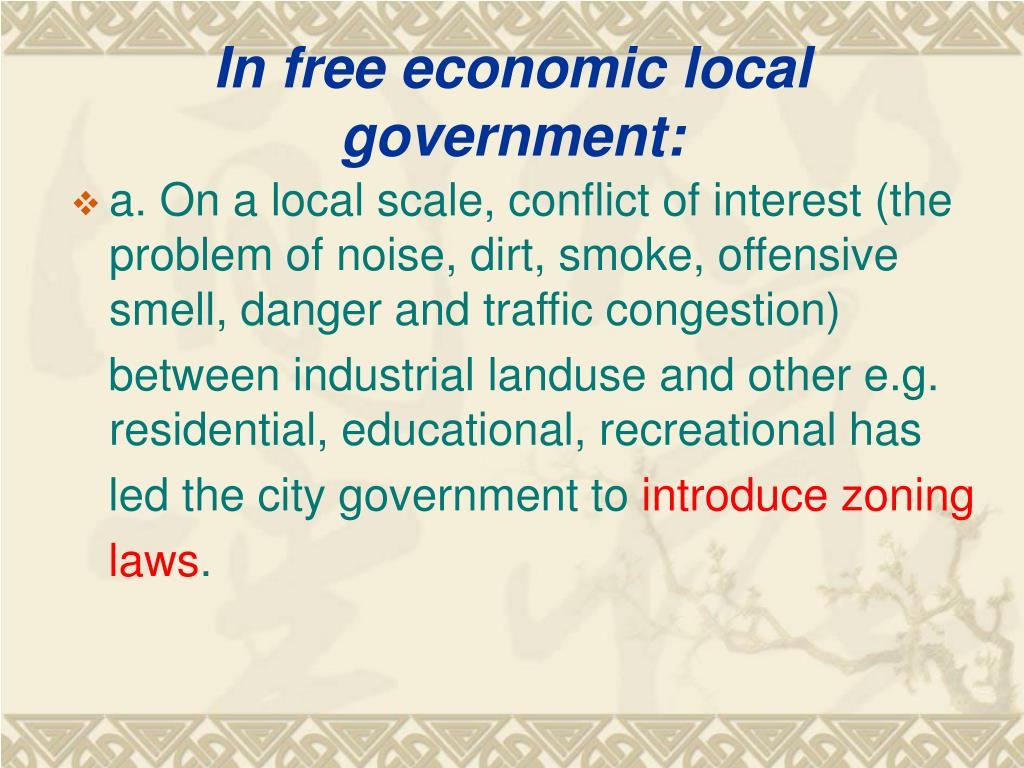 In free economic local government: