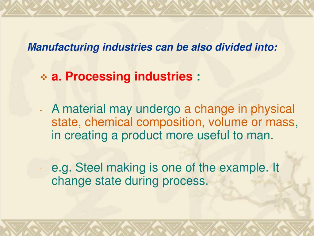 Manufacturing industries can be also divided into: