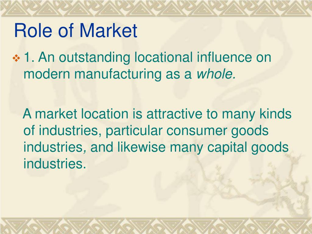 Role of Market