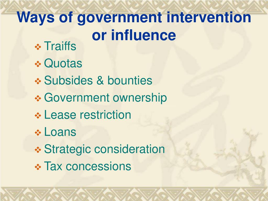 Ways of government intervention or influence