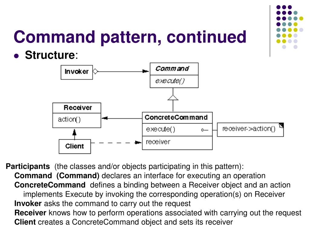 Command pattern, continued