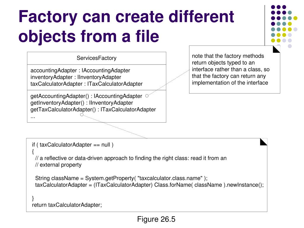 Factory can create different objects from a file