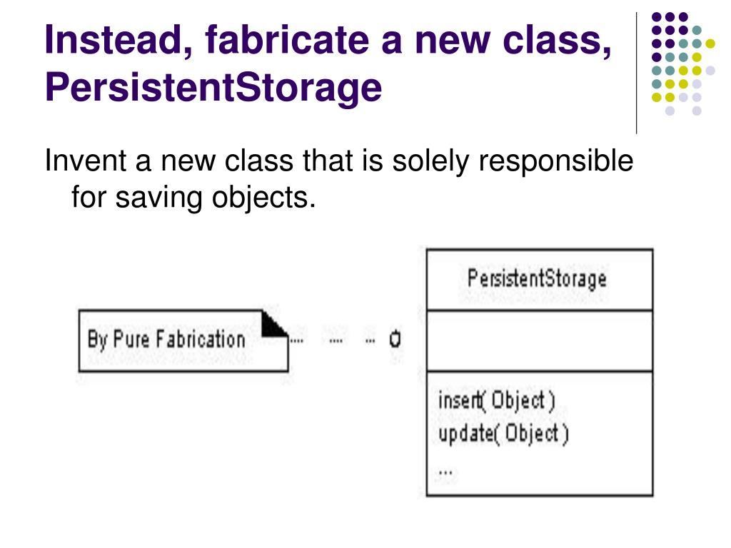 Instead, fabricate a new class, PersistentStorage