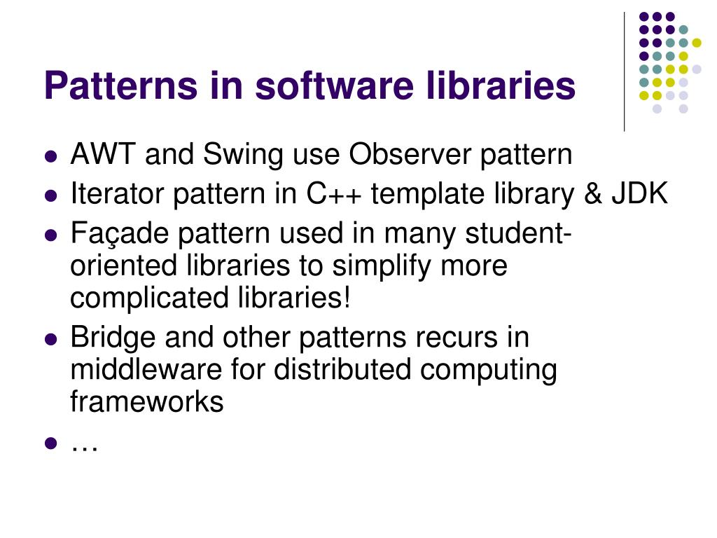 Patterns in software libraries