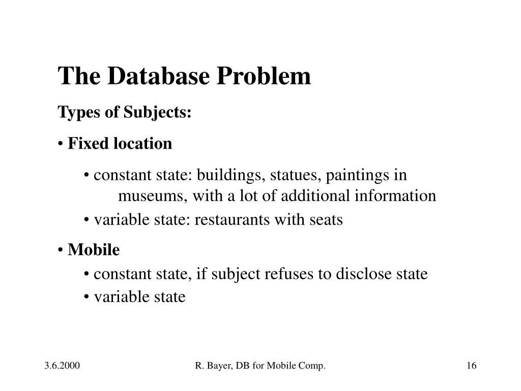 The Database Problem