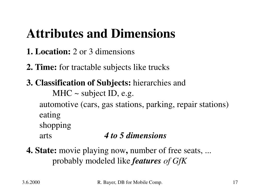 Attributes and Dimensions