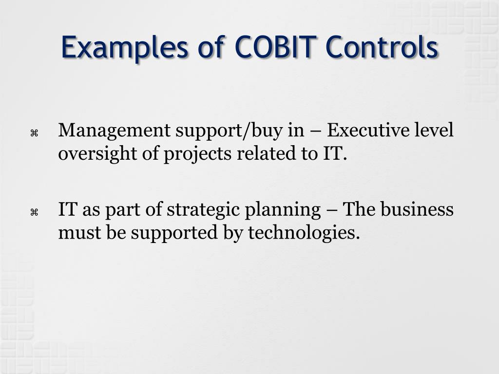 Examples of COBIT Controls