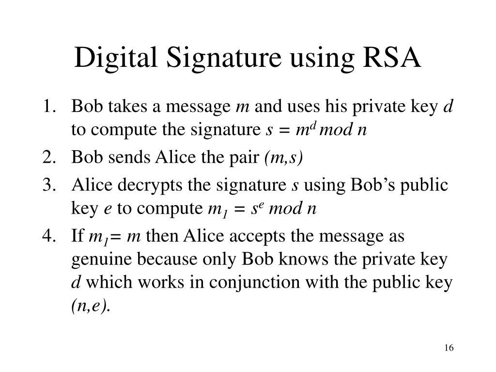 Digital Signature using RSA