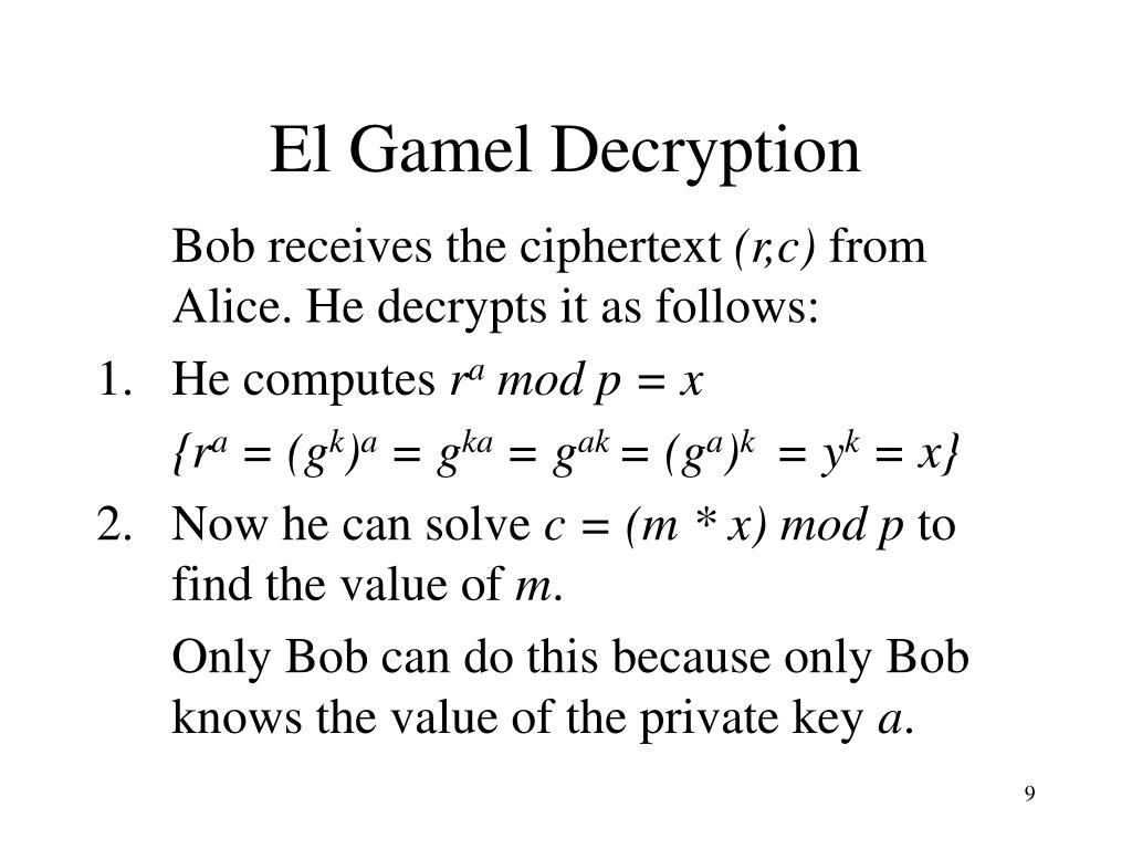 El Gamel Decryption